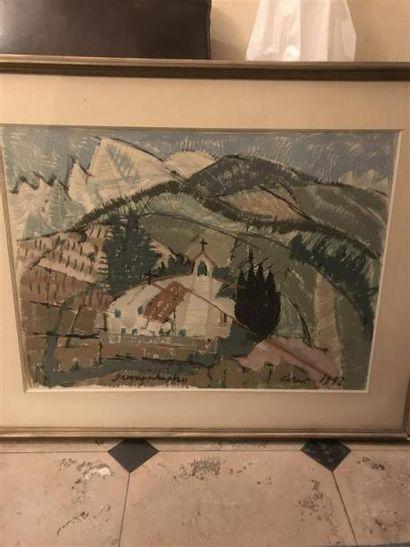 Un gouache sur papier : vue du village Signée...