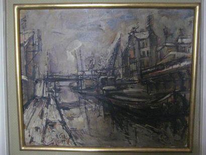 Roger LERSY Péniche sur le canal Huile sur...