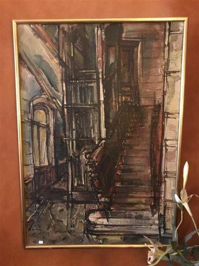 LERSY L'escalier Juile sur toile signée enbas...