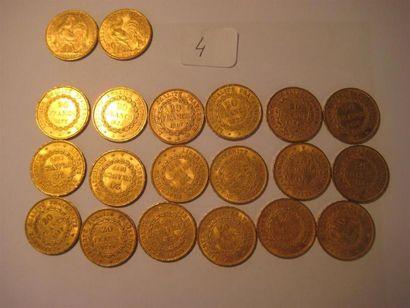 FRANCE 20 Francs or , Coq, 1905 (2) 20 Francs...
