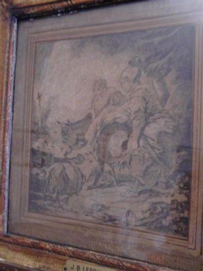 Lavandière et chèvre Dessin 16,5 x 16 cm...