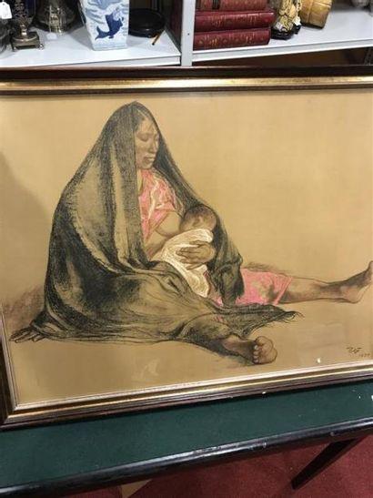 Femme alaitant un enfant Pastel sous verre...