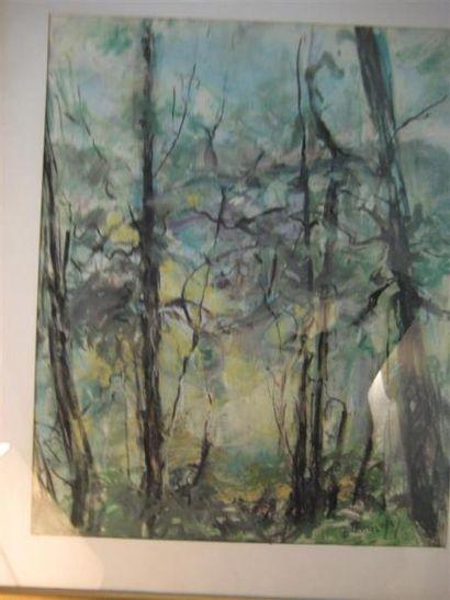 B.TESSIER les arbres Aquarelle signée en...