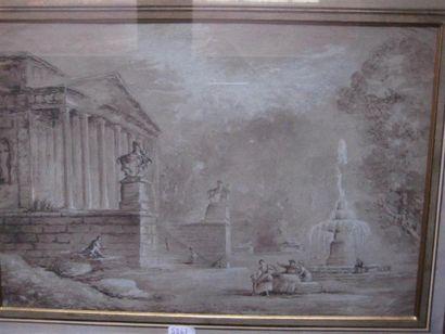 Paysage animé de style antique Dessin au...