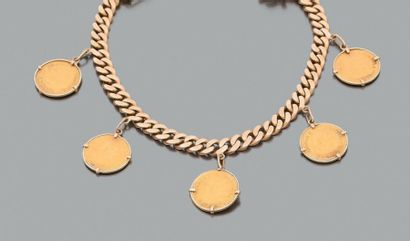 Bracelet gourmette en or rose (750 millièmes)...