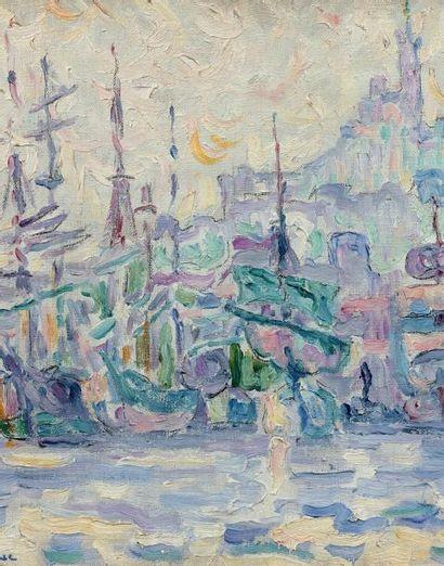 Paul SIGNAC (1863-1935) La bonne Mère, Marseille (étude), 1907 Huile sur carton-toile....