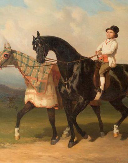 Alfred de DREUX (1810-1860) Groom en haut-de-forme et chevaux à la détente, dont...