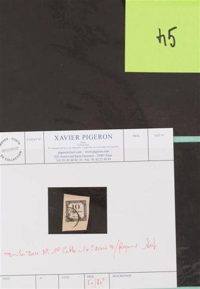 Taxe n° 1 oblitéré Litho 10c noir sur fragment...