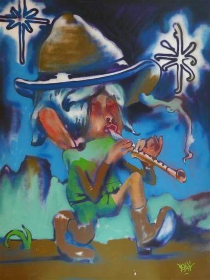 POPAY Le flutiste Aérosol sur toile, signée...