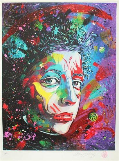 C215 Composition au visage féminin Lithographie,...