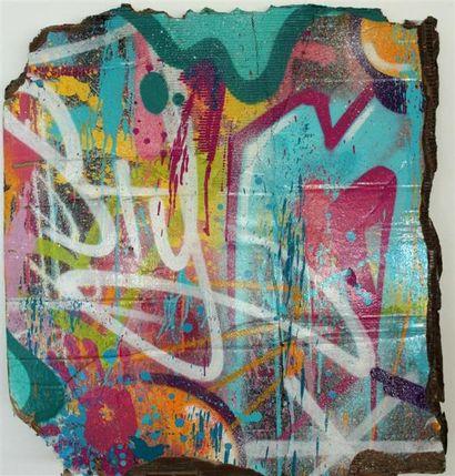 NASTY Sans titre Peinture aérosole sur carton,...