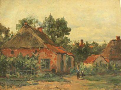William THORNLEY (1857-1935) Les chaumières...