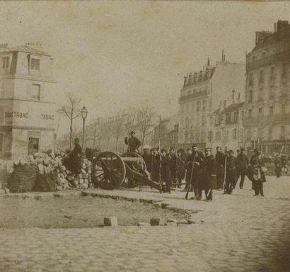 J.-B. GOMEZ. La Commune, 1871, barricade...