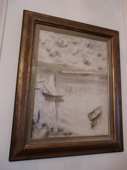 Un dessin sous verre signé Pina représentant...