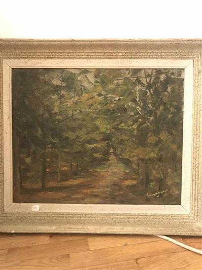 Ecole du XIXe Chemin dans les bois Huile...