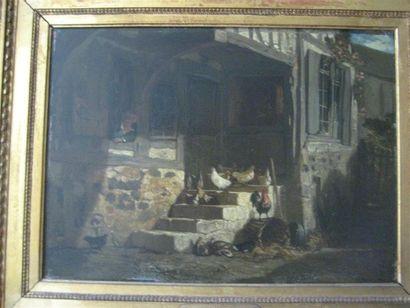 Philippe ROUSSEAU (1816-1887) Les poules...
