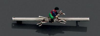 BROCHE BARRETTE «jockey sur sa monture au...