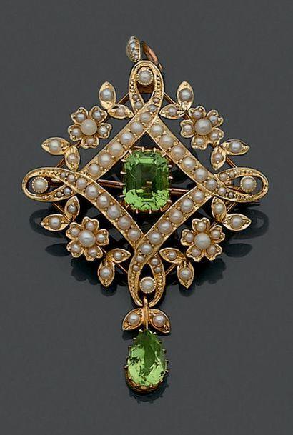 PENDENTIF-BROCHE en or jaune 14 et 9 carats...