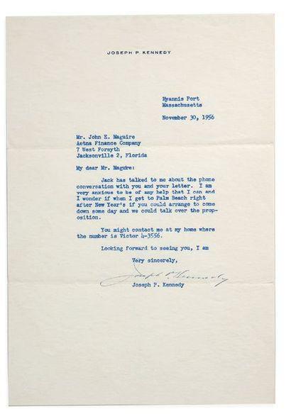 KENNEDY JOSEPH PATRICK (1888-1969). Père du Président J.F. Kennedy