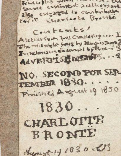 BRONTË CHARLOTTE (1816-1855) MANUSCRIT autographe signé « CHARLOTTE BRONTË », Second...