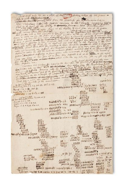 NEWTON ISAAC (1642-1727). Autograph MANUSCRIPT; half-page in-fol. (small loss to...