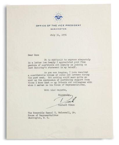 NIXON RICHARD (1913-1994). Président américain Signed letter, signed « Dick », Washington...