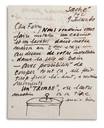CALDER Alexander (1898-1976) Signed autograph letter, signed « Alexander Calder »...
