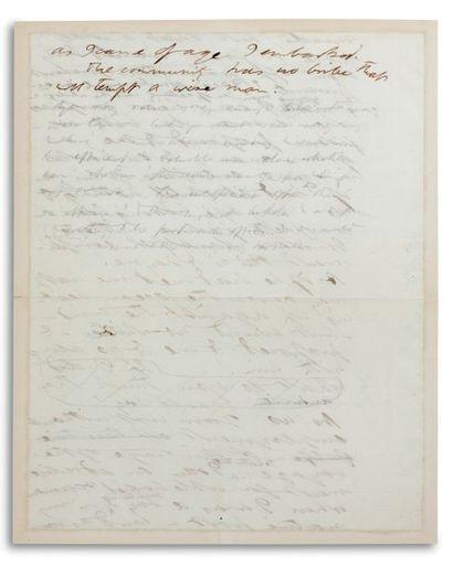 THOREAU HENRY DAVID (1817-1862). Écrivain et philosophe américain. Autograph MANUSCRIPT...