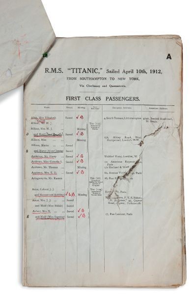 """[TITANIC]. Printed LIST with MANUSCRIPT annotations and corrections, R.M.S. """"TITANIC""""…,..."""