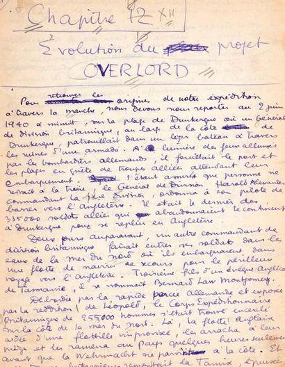 VIAN BORIS (1920-1959). Autograph MANUSCRIPT by Boris VIAN, Omar N. BRADLEY. Histoire...