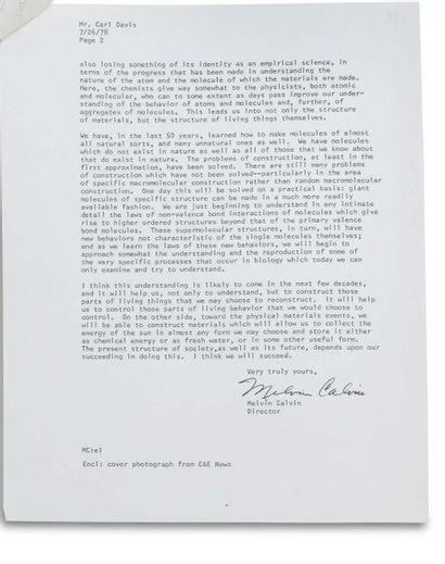 CALVIN MELVIN (1911-1997). Biochimiste américain (Prix Nobel). Signed letter, signed...
