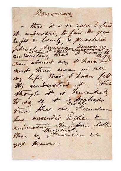 WHITMAN WALT (1819-1892). MANUSCRIT autographe, Democracy, [vers 1867-1870] ; 1 page...