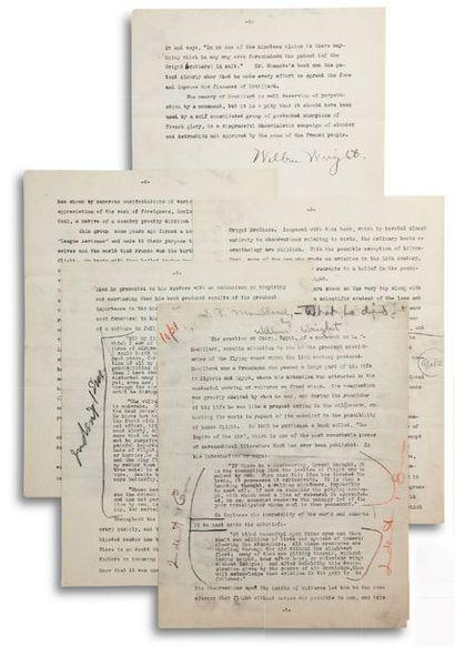 WRIGHT WILBUR (1867-1912). Aviateur américain. TYPSCRIPT signed « Wilbur Wright »,...
