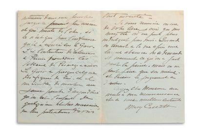 CASSATT MARY (1844-1926). Signed autograph letter, signed « Mary Cassatt », Villa...