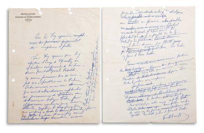 CASTRO FIDEL (1926-2016). MANUSCRIT autographe signé « Fidel Castro », [1959] ; 2...