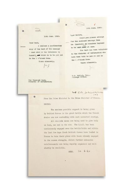 CHURCHILL WINSTON (1874-1965). Typed document (minute) with an autograph date « 10.6.40...