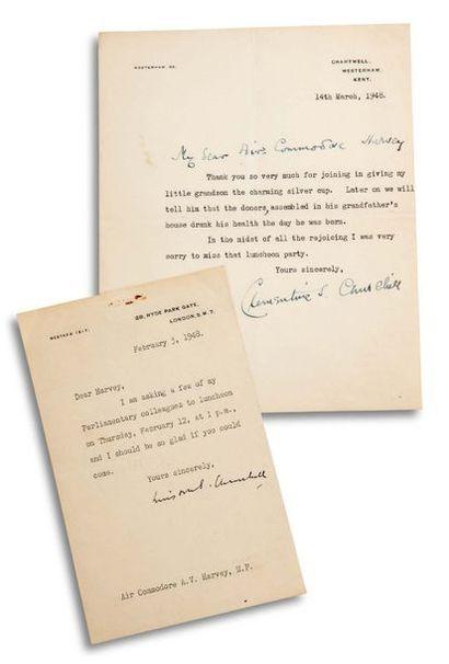 CHURCHILL WINSTON (1874-1965). Signed letter, signed « Winston S. Churchill », London,...