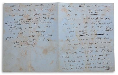 DARWIN Charles (1809-1882) Autograph MANUSCRIPT, [circa 1875 ?]; 2 pages in-4 format...