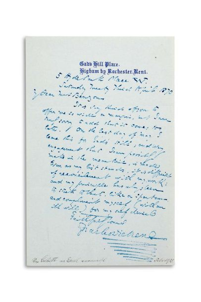 DICKENS CHARLES (1812-1870). Signed autograph letter, signed « Charles Dickens »,...