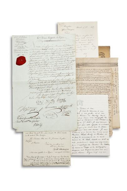 DIVERS 7 letters or manuscript documents, one printed document, 18th to 19th centuries....