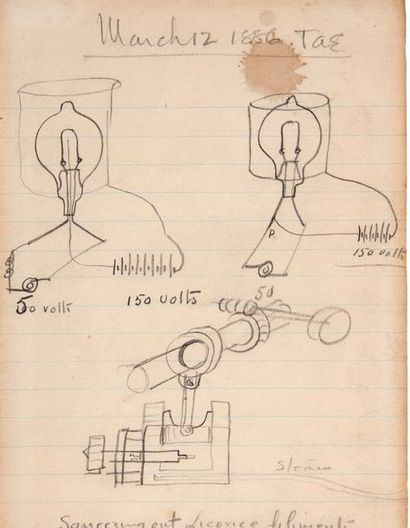 EDISON THOMAS (1947-1931). Six DRAWINGS with autograph NOTES (3 signed « TAE »),...