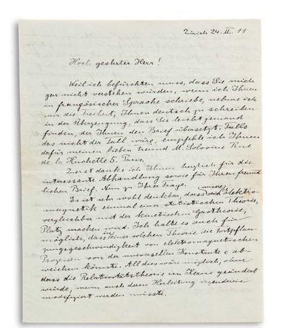 EINSTEIN ALBERT (1879-1955). Signed Autograph Letter. « A. Einstein », Zürich 24...