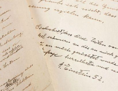 EINSTEIN ALBERT (1879-1955). Autograph MANUSCRIPT, signed « A. Einstein », [circa...
