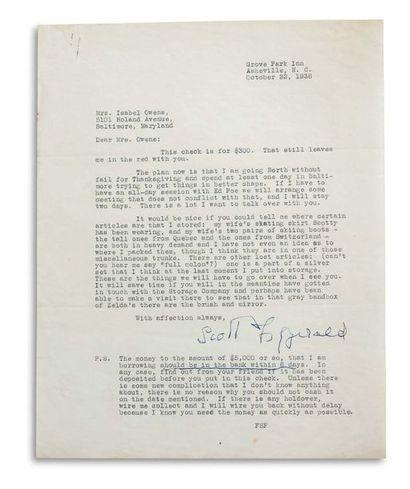 FITZGERALD FRANCIS SCOTT (1896-1940). Signed letter, signed « Scott Fitzgerald »,...