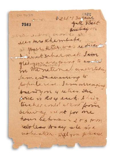GANDHI MOHANDAS KARAMCHAND (1869-1948). Signed autograph letter, signed « MK Gandhi...
