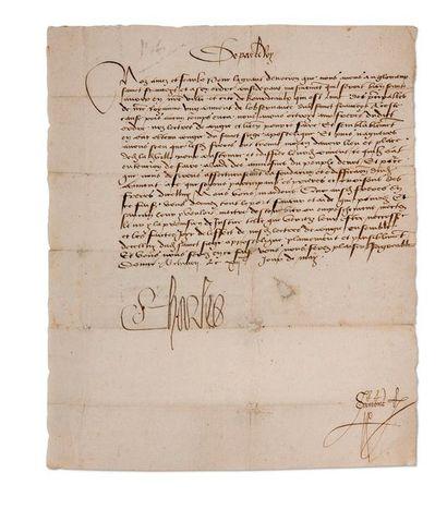 CHARLES VIII (1470-1498) Roi de France L.S. «Charles», Chinon 13 mai [1488 ou 1489],...