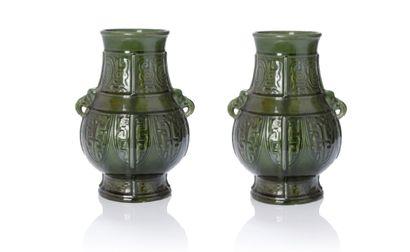 Théodore DECK (1823-1891) Paire de vases Céramique Signés H. 30.5 cm