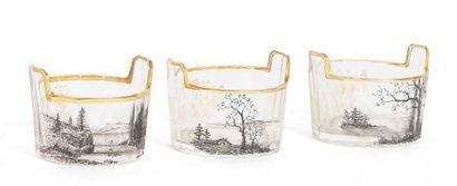 DAUM Nancy Series of 3 saltcellars Glass Signed D.: 4 cm.