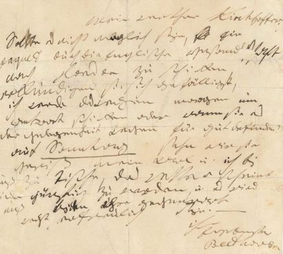 """BEETHOVEN LUDWIG VAN (1770-1827). L.A.S. """"Beethoven"""",[Baden early September 1823],..."""