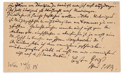 BRAHMS JOHANNES (1833-1897) Compositeur allemand. L.A.S. «J.Br», Wien 24 novembre...